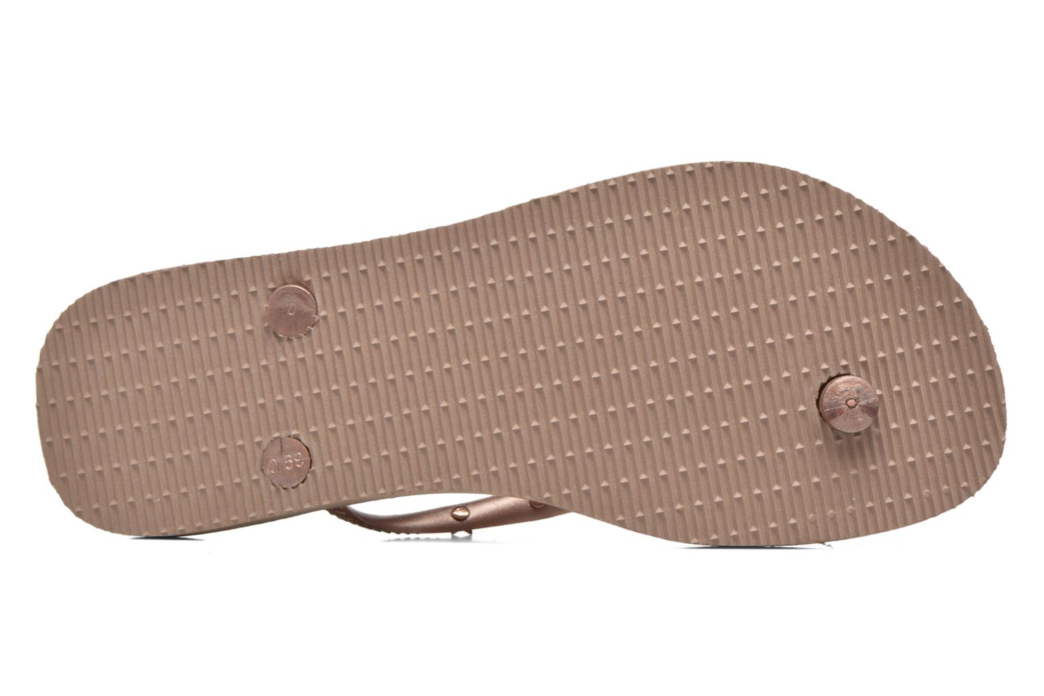 Tongs Havaianas Slim Hardware Or et bronze vue haut