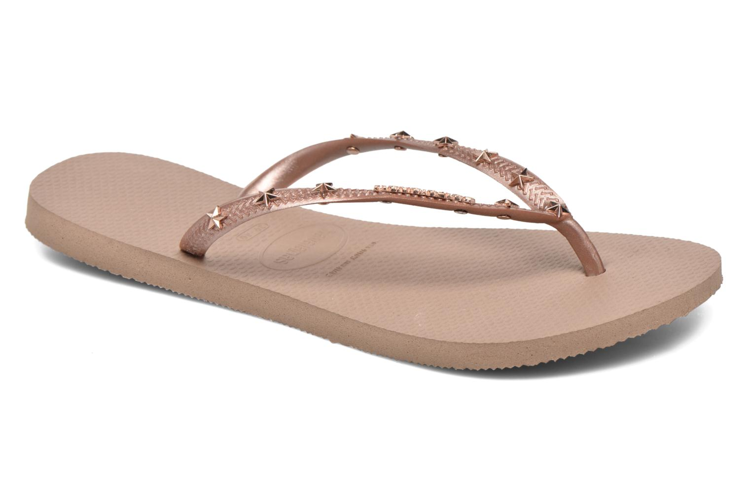 Tongs Havaianas Slim Hardware Or et bronze vue détail/paire
