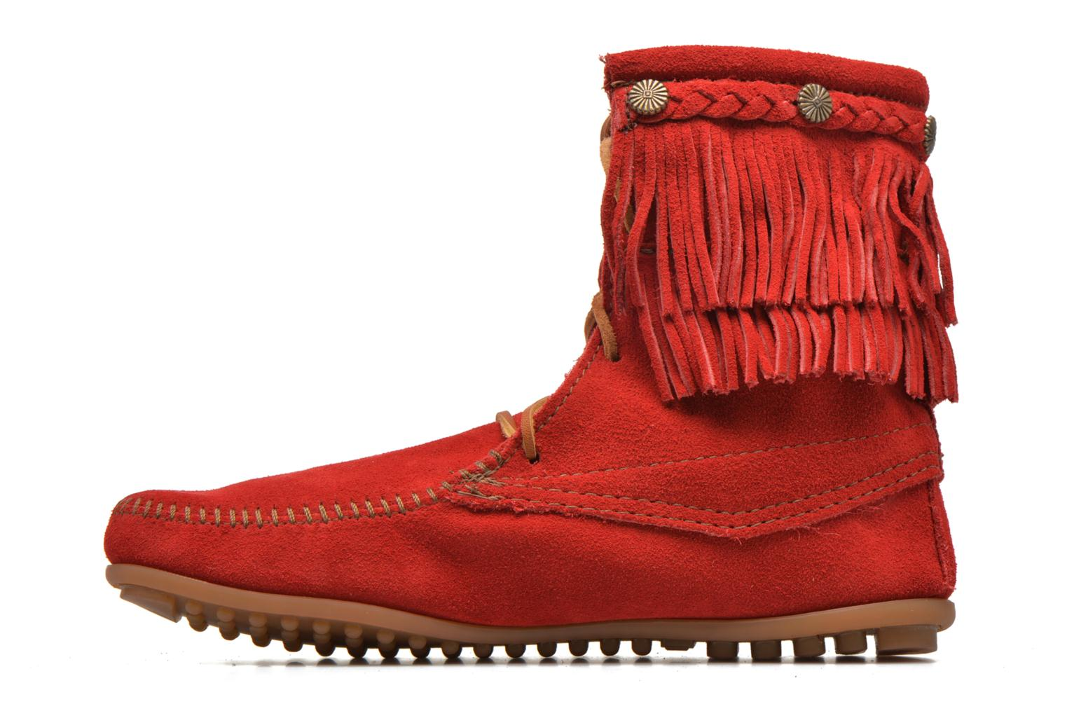 Ankle boots Minnetonka DOUBLE FRINGE TRAMPER Red front view