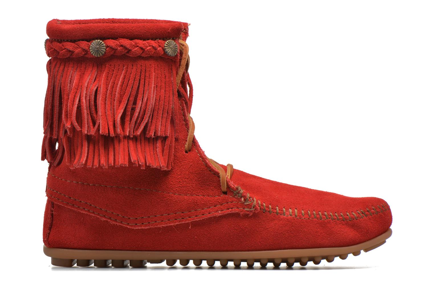 Ankle boots Minnetonka DOUBLE FRINGE TRAMPER Red back view