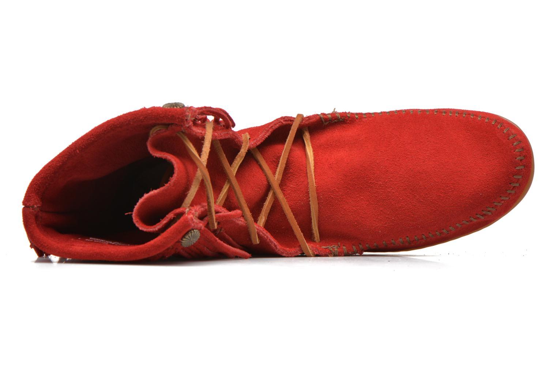 Boots en enkellaarsjes Minnetonka DOUBLE FRINGE TRAMPER Rood links