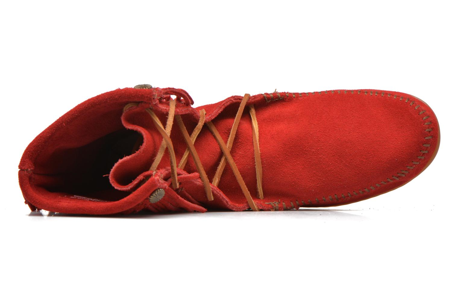 Ankle boots Minnetonka DOUBLE FRINGE TRAMPER Red view from the left