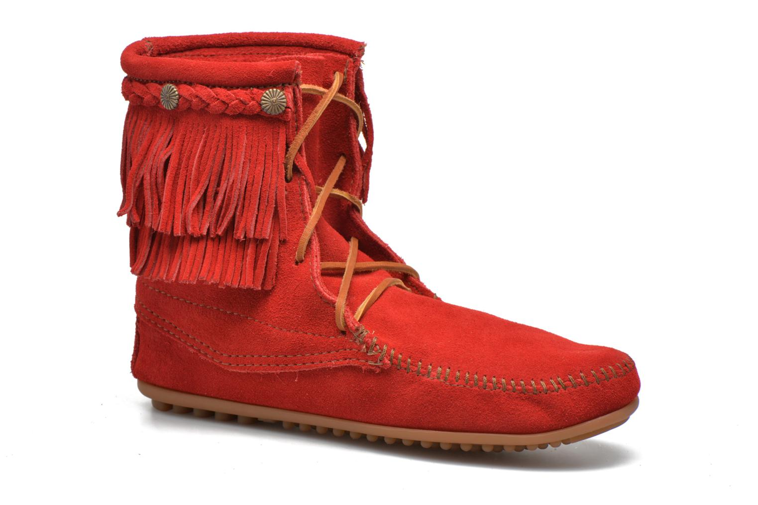 Ankle boots Minnetonka DOUBLE FRINGE TRAMPER Red detailed view/ Pair view