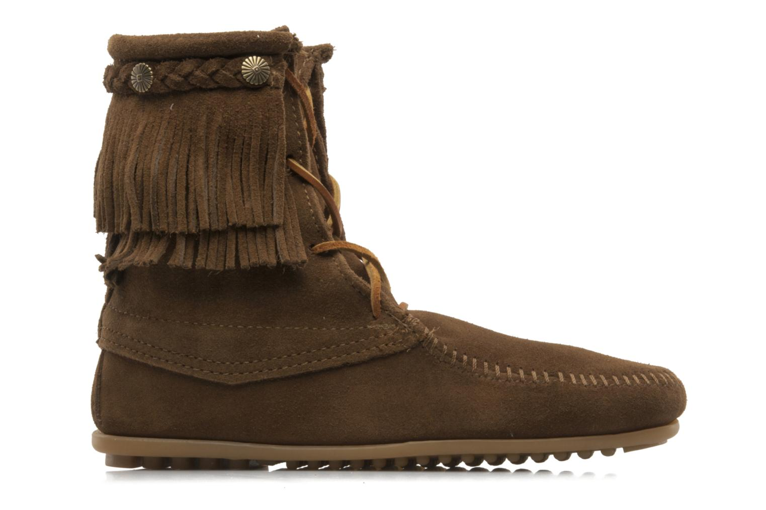 Ankle boots Minnetonka DOUBLE FRINGE TRAMPER Brown back view