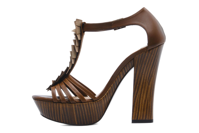 Sandales et nu-pieds Pura Lopez Krista Marron vue face