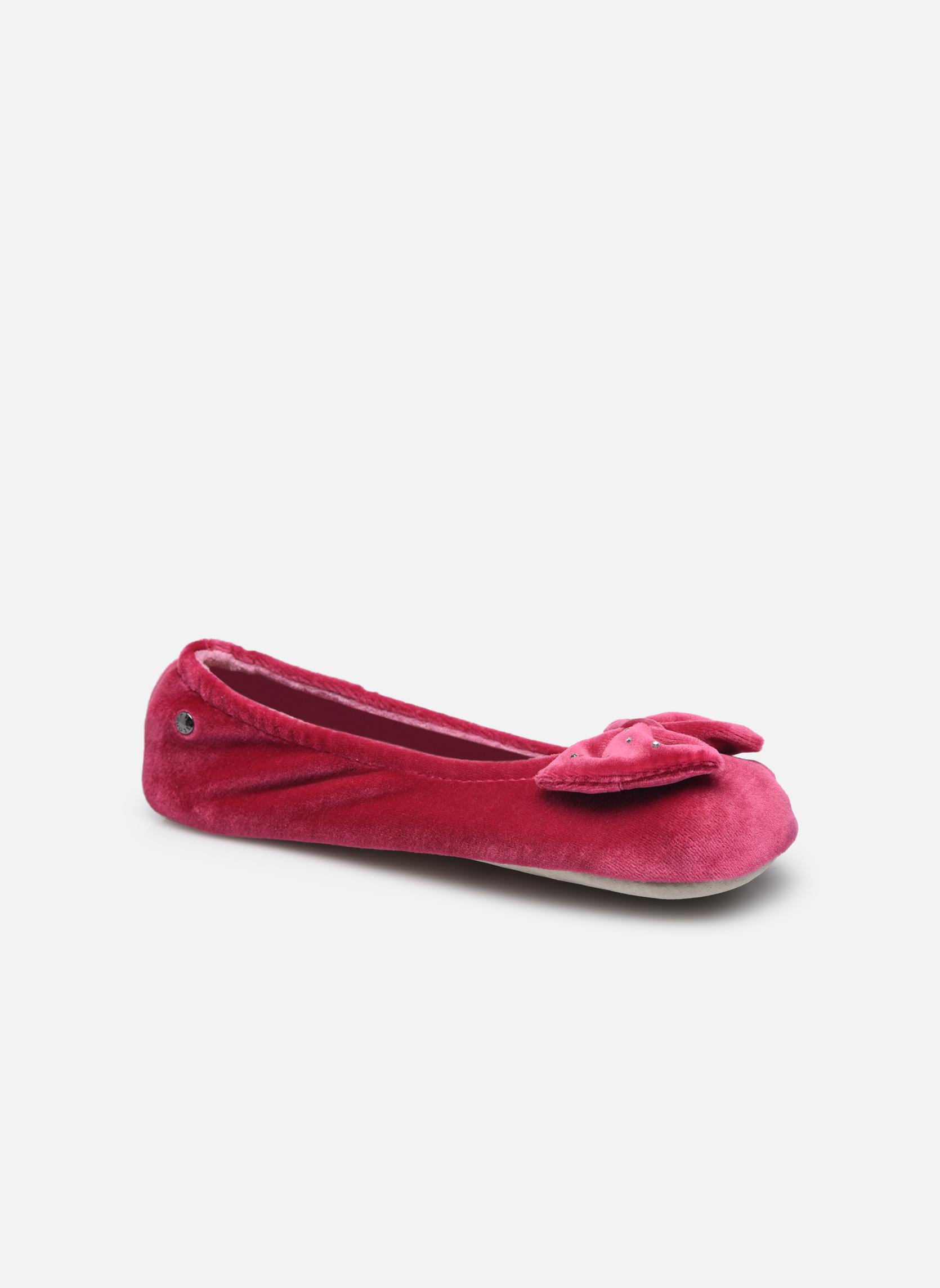 Chaussons Isotoner Ballerine velours grand nœud F Violet vue détail/paire