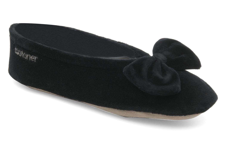 Chaussons Isotoner Ballerine velours grand nœud F Noir vue détail/paire