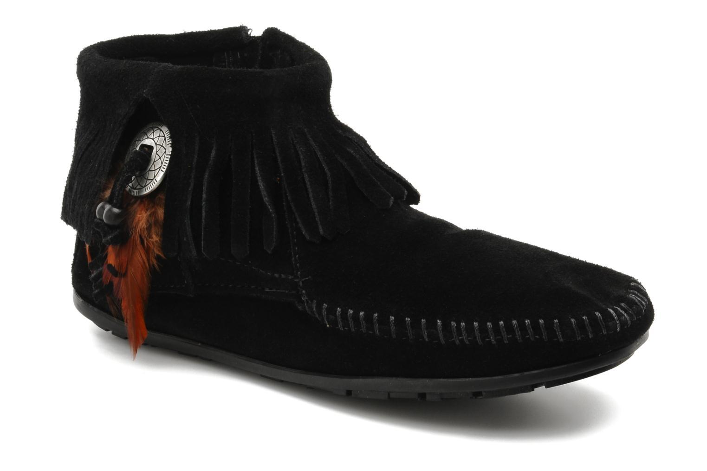Ankelstøvler Minnetonka CONCHOFEATHER BT Sort detaljeret billede af skoene