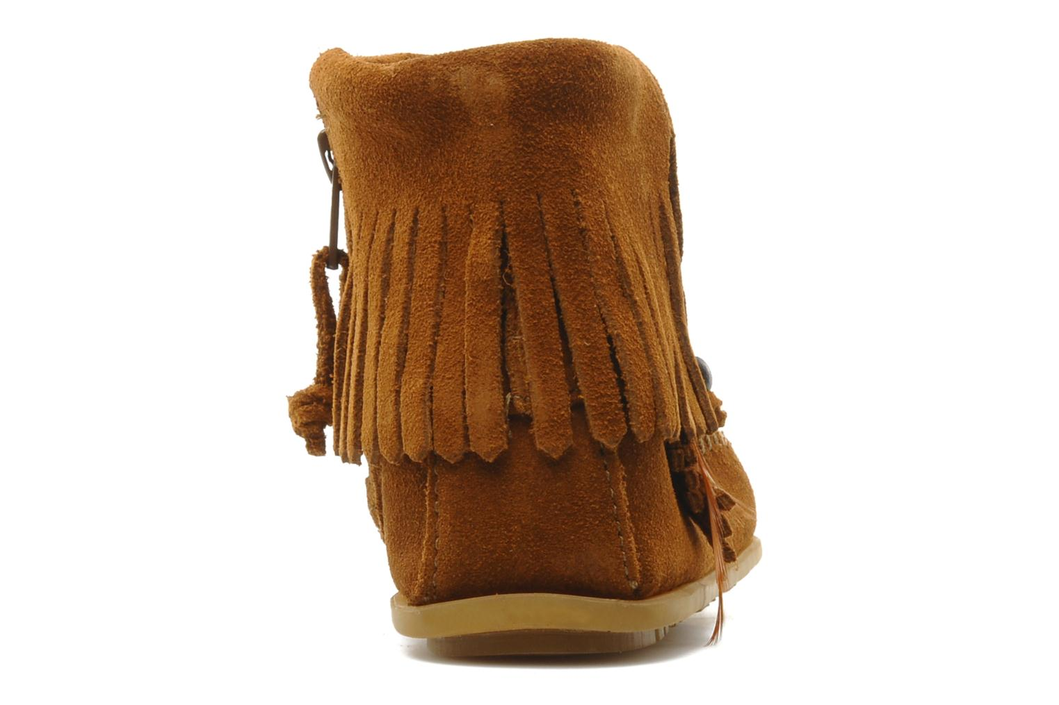 Ankle boots Minnetonka CONCHOFEATHER BT Brown view from the right