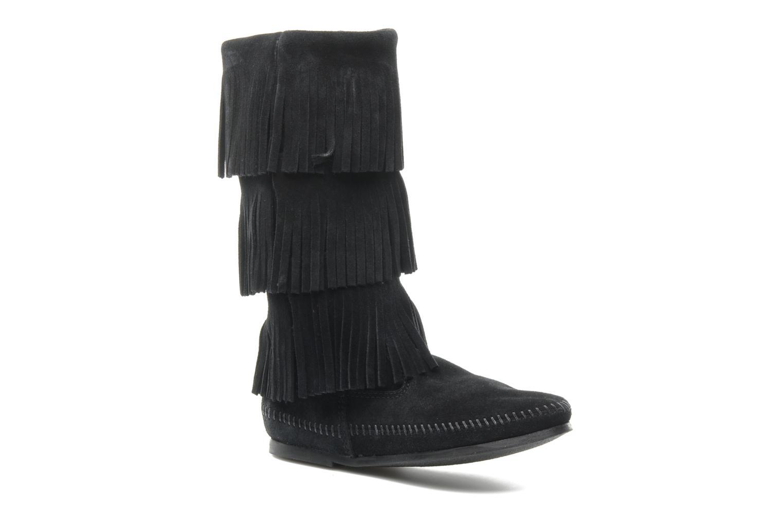 Ankelstøvler Minnetonka 3 LAYER FRINGE BOOT Sort detaljeret billede af skoene