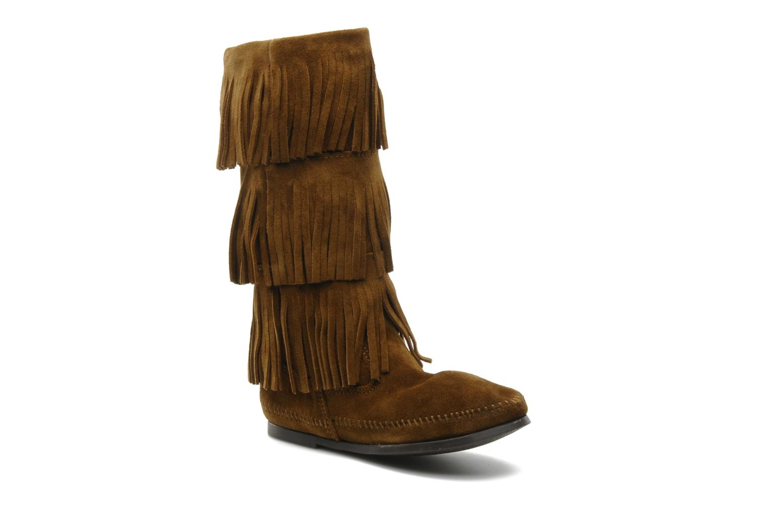 Ankle boots Minnetonka 3 LAYER FRINGE BOOT Brown detailed view/ Pair view