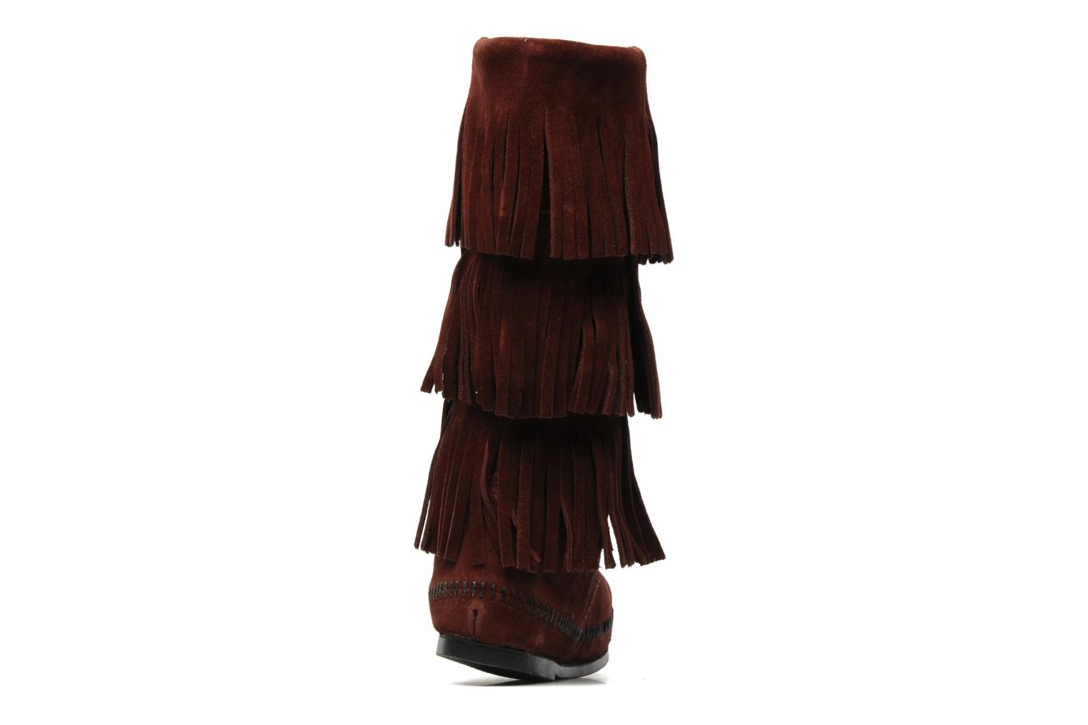 3 LAYER FRINGE BOOT Wine Suede