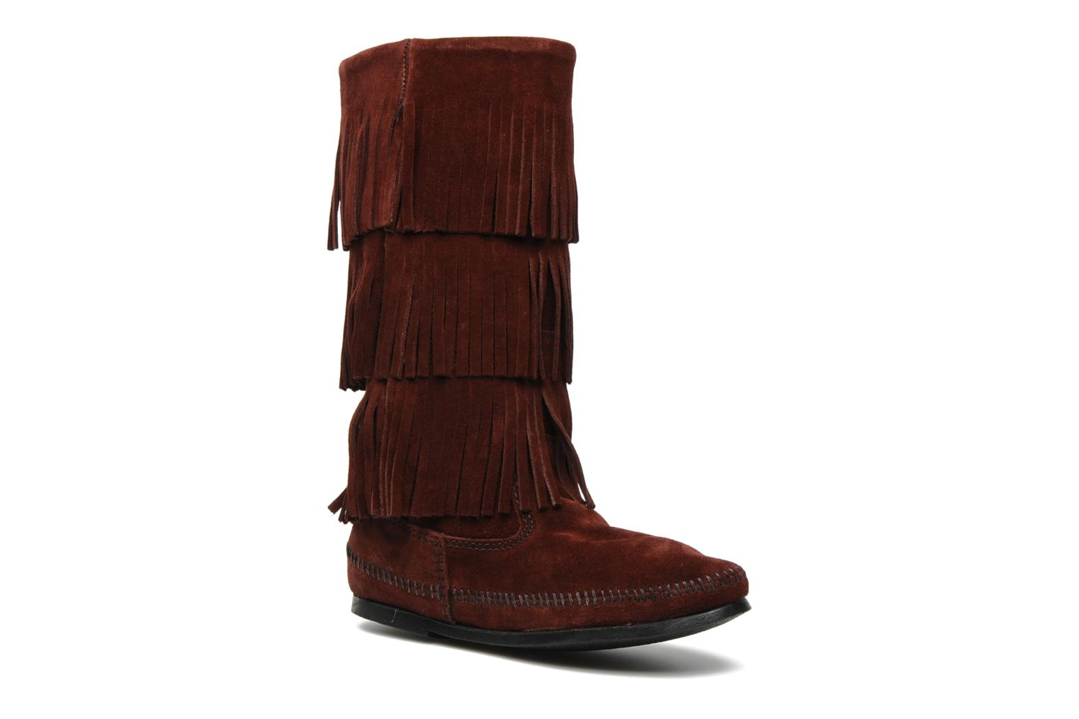 Ankle boots Minnetonka 3 LAYER FRINGE BOOT Burgundy detailed view/ Pair view