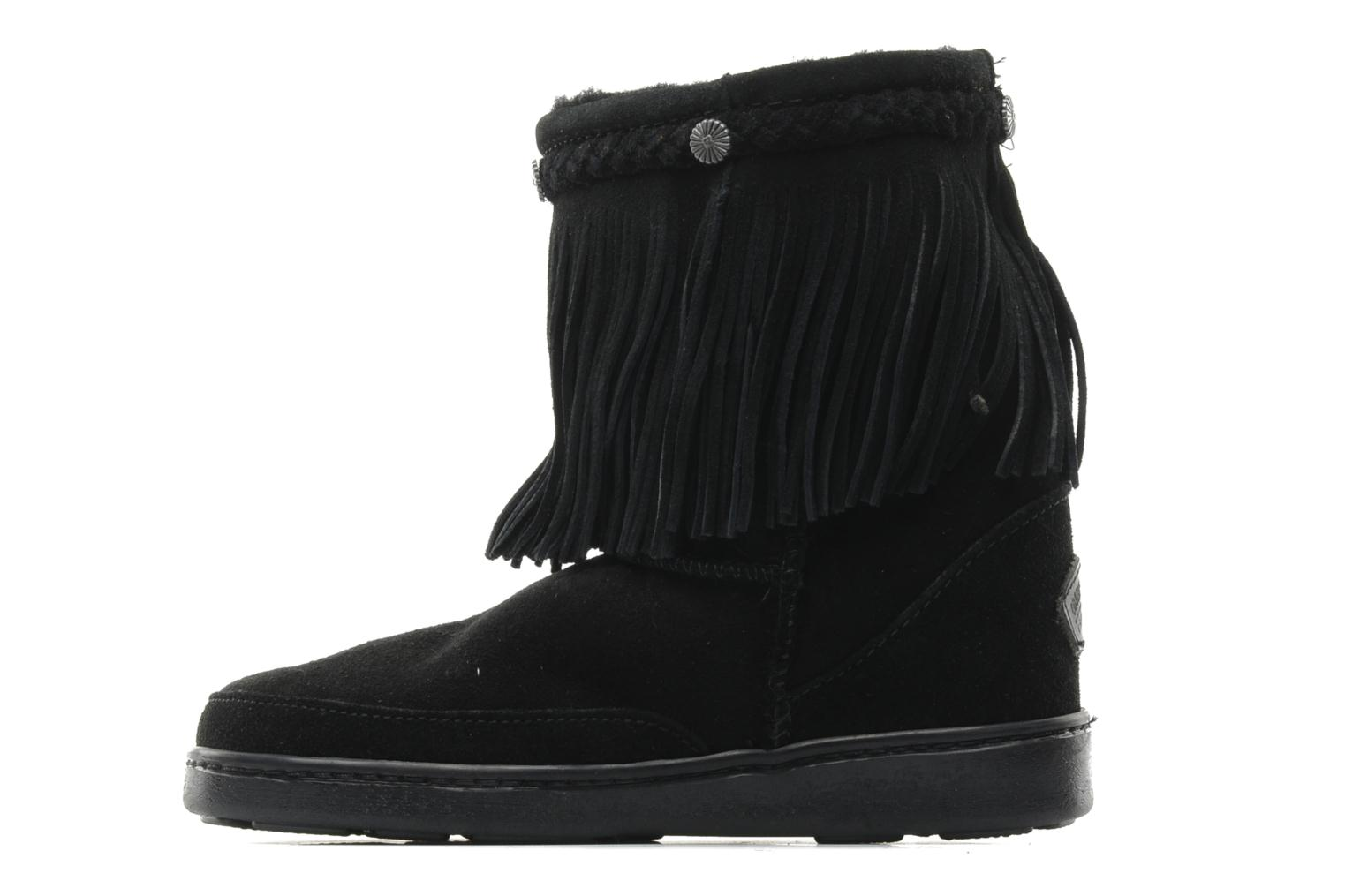 Ankle boots Minnetonka FRINGE CLASSIC PUG BT Black front view