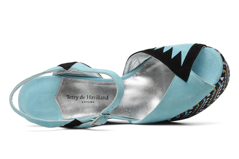Sandalias Terry de Havilland TOTEM Azul vista lateral izquierda