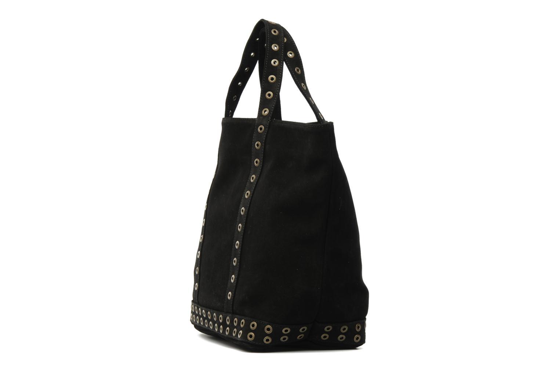 Handbags Vanessa Bruno Cabas cuir velours œillets L Black model view
