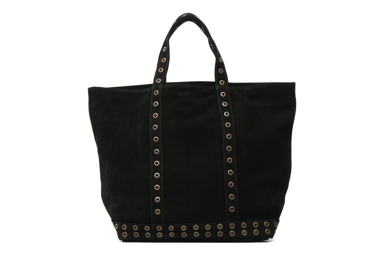 Handbags Vanessa Bruno Cabas cuir velours œillets L Black front view