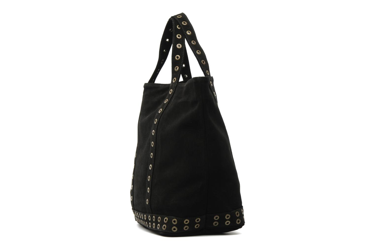 Handbags Vanessa Bruno Cabas cuir velours œillets L Black view from the right