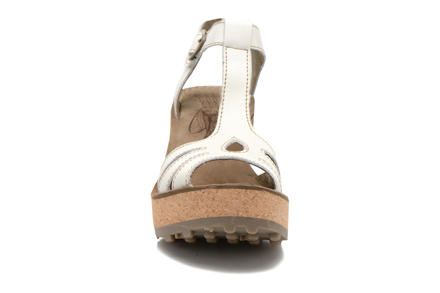 Sandals Fly London Gold White model view