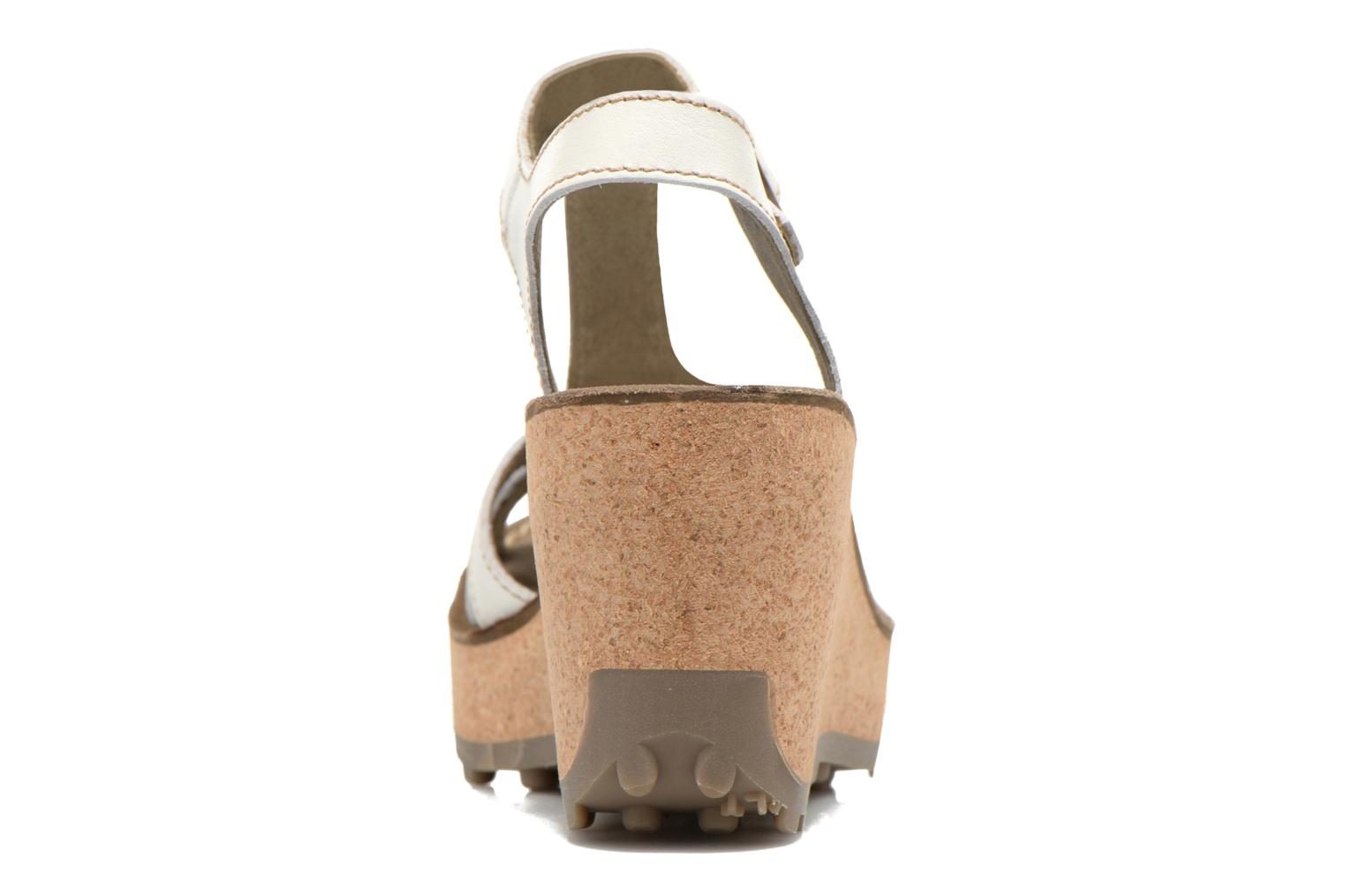 Sandals Fly London Gold White view from the right