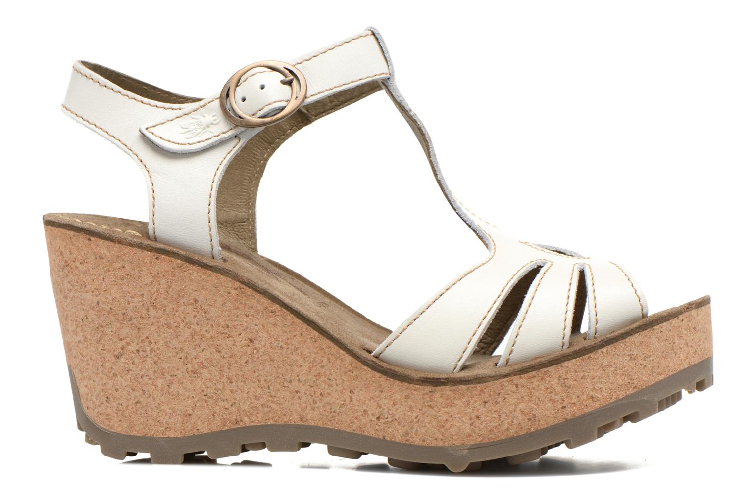 Sandals Fly London Gold White back view