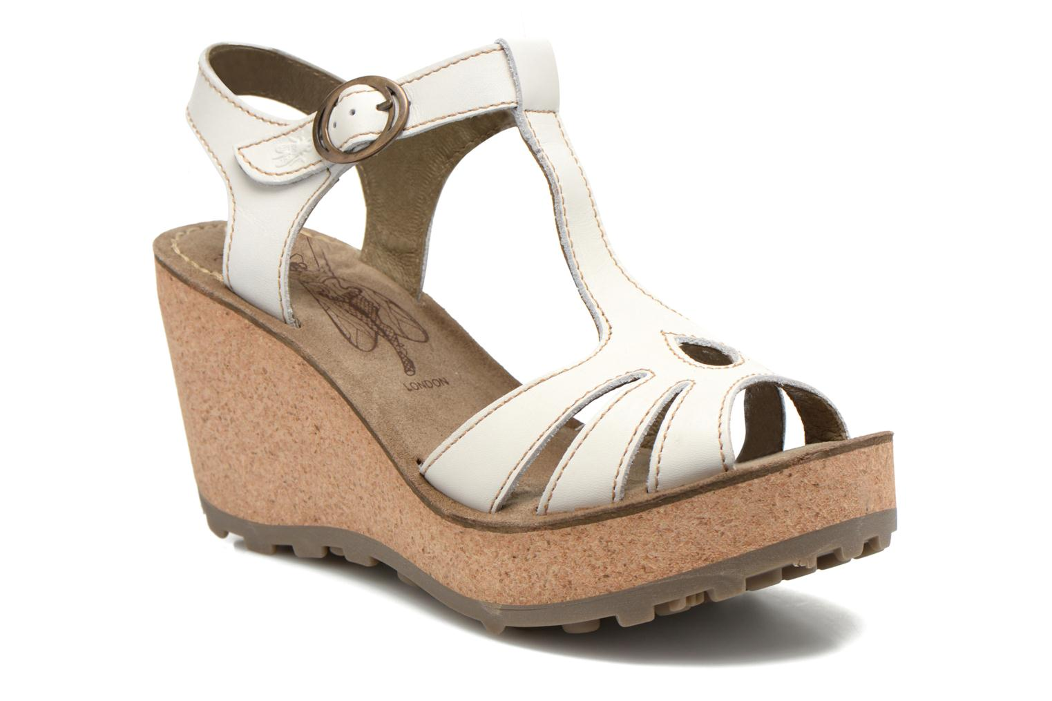 Sandals Fly London Gold White detailed view/ Pair view