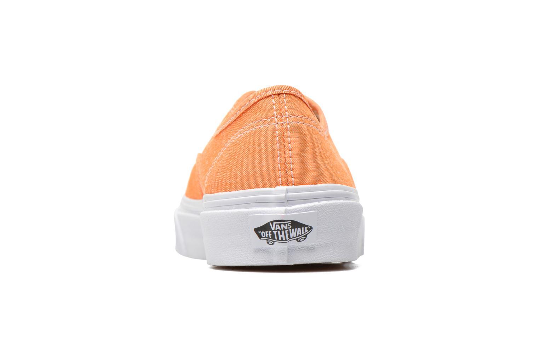 Baskets Vans Authentic Slim W Orange vue droite