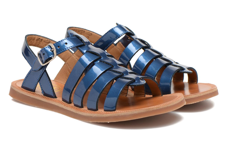 Sandals Pom d Api Plagette Strap Blue 3/4 view