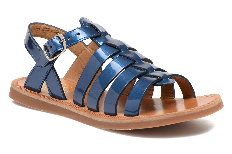 Plagette Strap Verni Metal/Blue