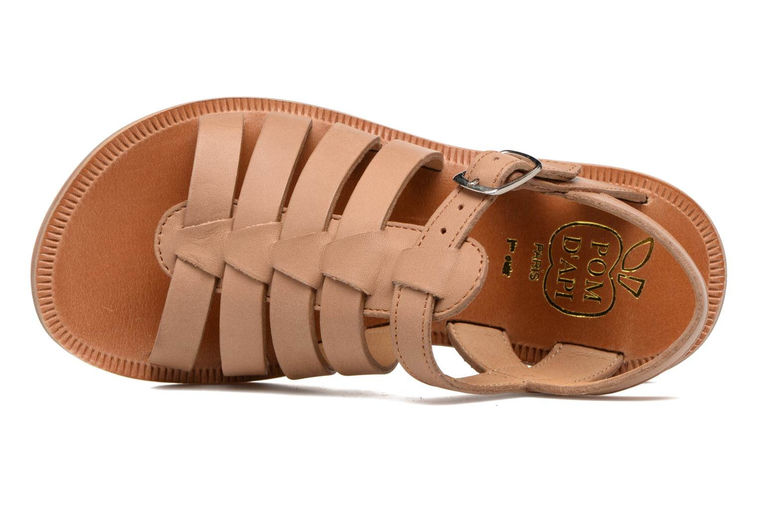 Sandals Pom d Api Plagette Strap Brown view from the left