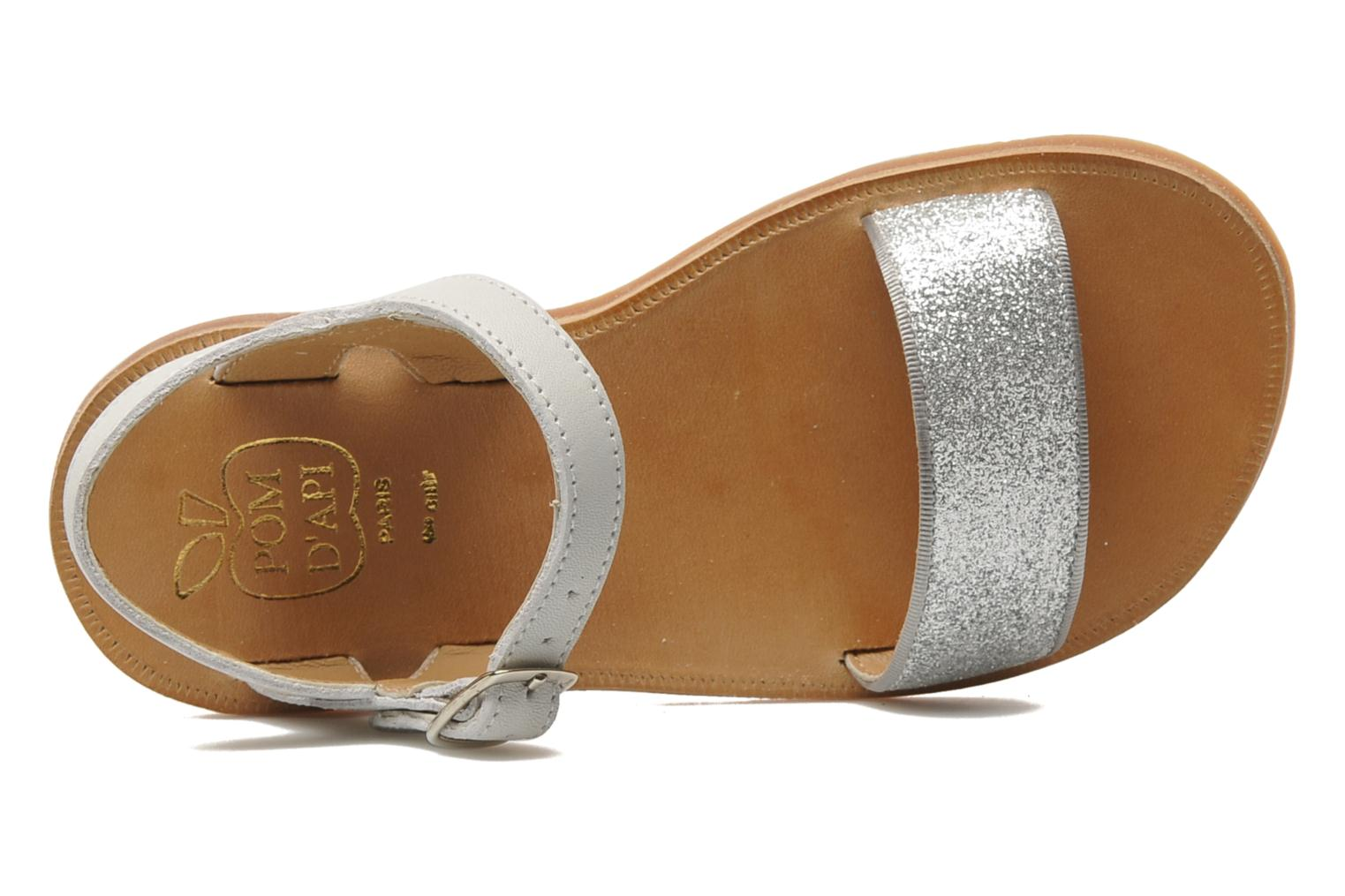 Sandals Pom d Api Plagette Buckle Tao Silver view from the left