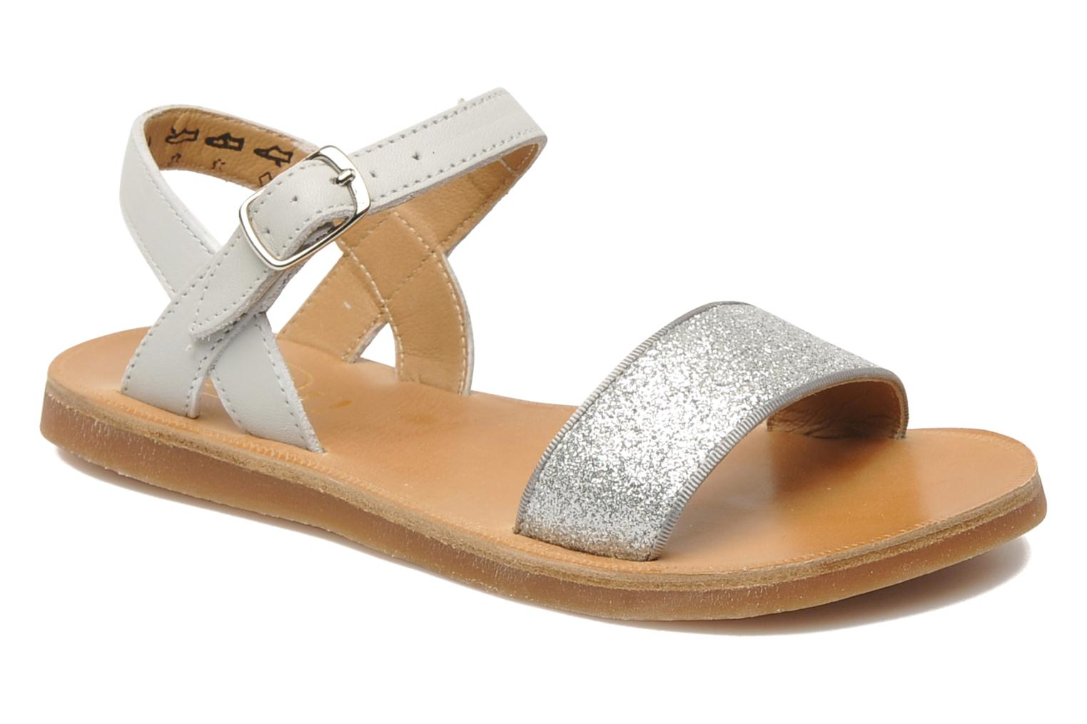 Sandals Pom d Api Plagette Buckle Tao Silver detailed view/ Pair view