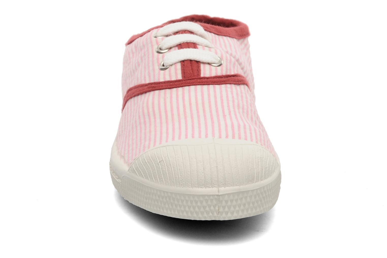 Baskets Bensimon Tennis Rayures Souples E Rose vue portées chaussures