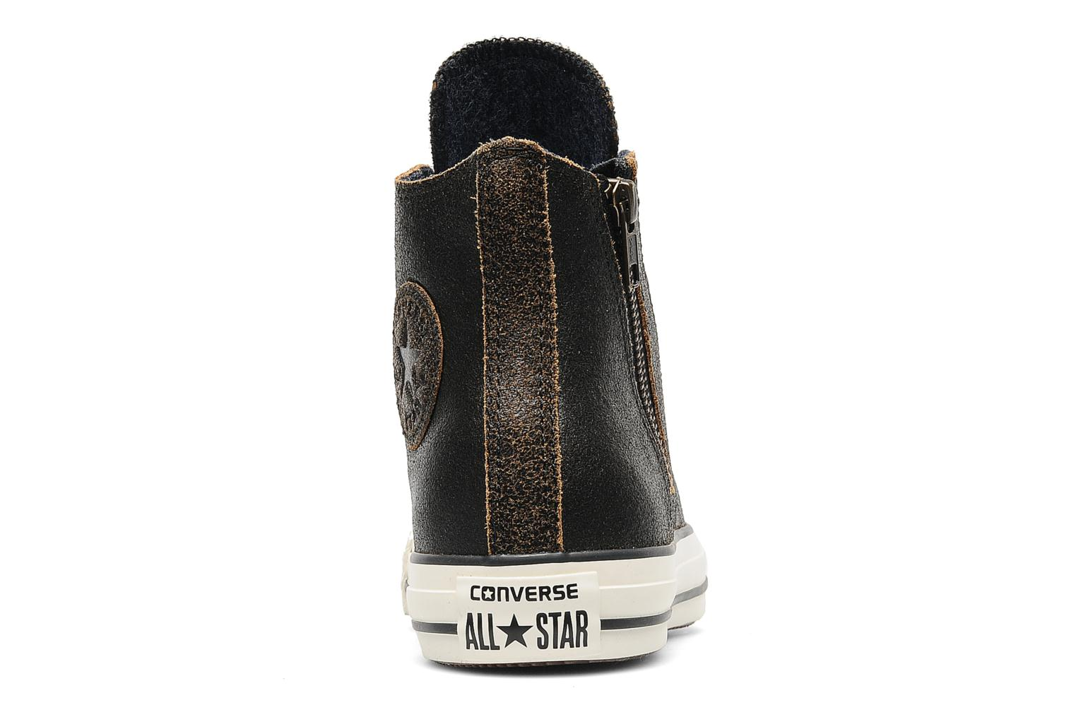 Baskets Converse Chuck Taylor All Star Side Zip Leather Hi W Noir vue droite