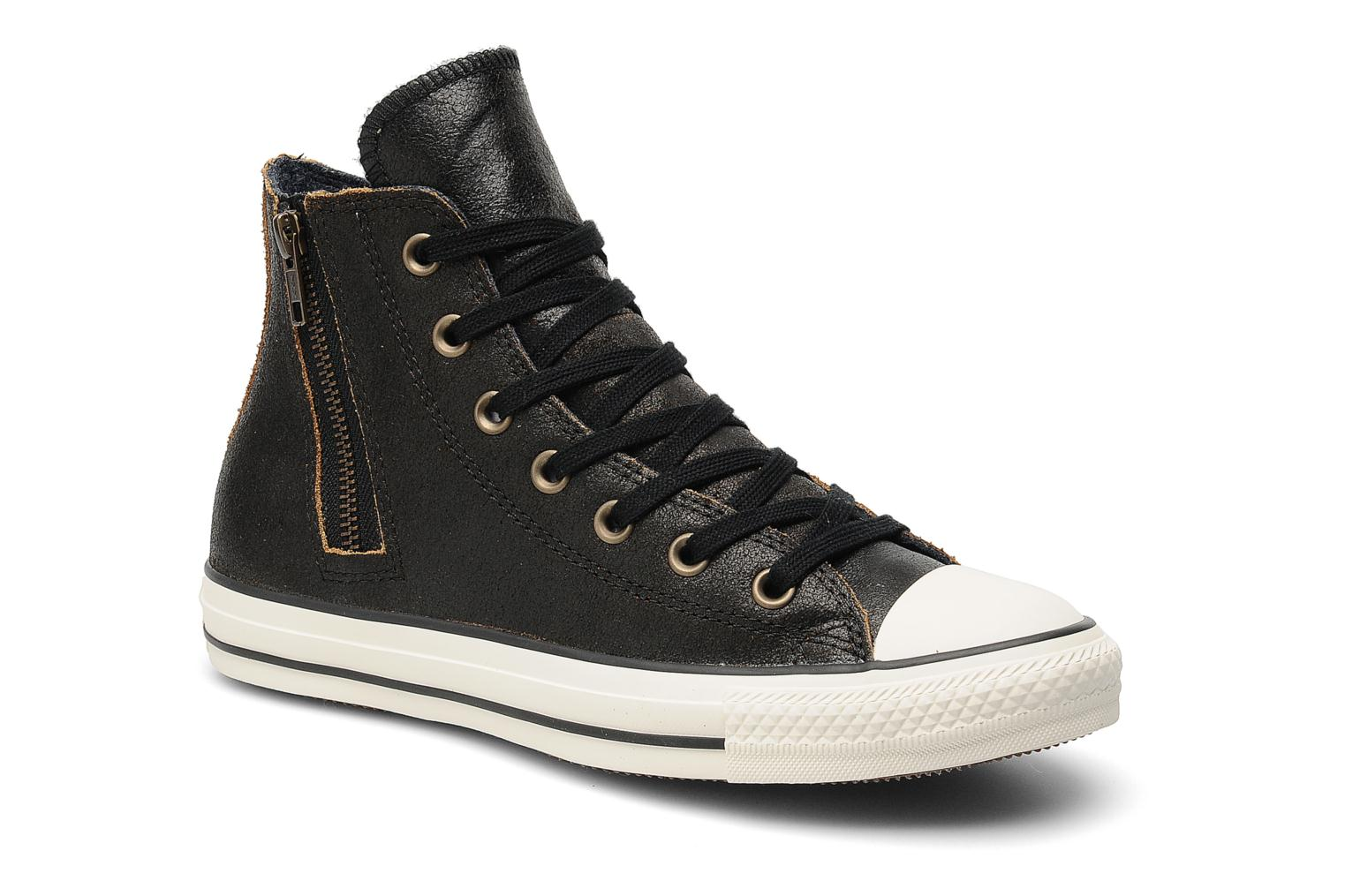 Baskets Converse Chuck Taylor All Star Side Zip Leather Hi W Noir vue détail/paire