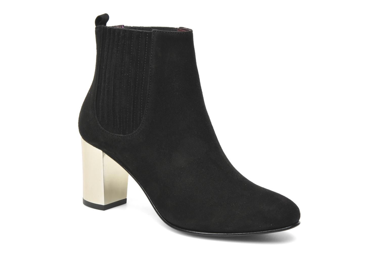 Metallic Heeled Brenda Boot Black Fine Suede