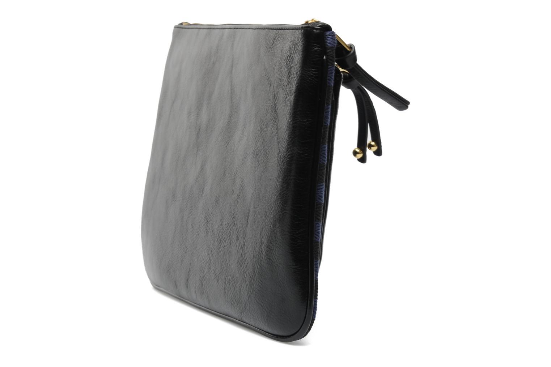 DAUPHINE Maxi pochette Coton/Vachette Noir/Marine