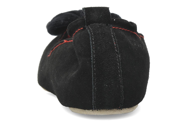 Pantoffels Isotoner Charentaise Cuir Velours Grand Nœud Zwart rechts