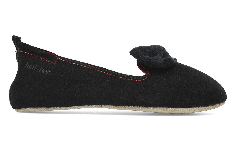 Pantoffels Isotoner Charentaise Cuir Velours Grand Nœud Zwart achterkant