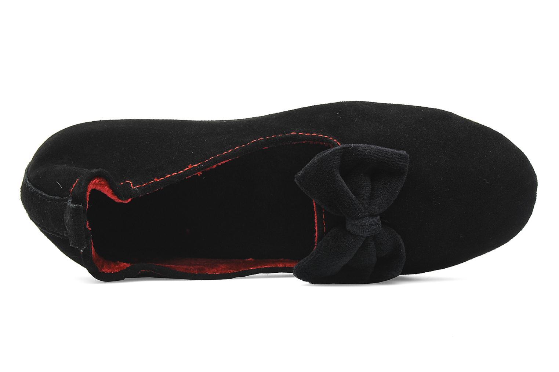Pantoffels Isotoner Charentaise Cuir Velours Grand Nœud Zwart links