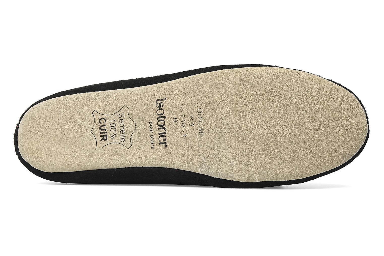 Pantoffels Isotoner Charentaise Cuir Velours Grand Nœud Zwart boven