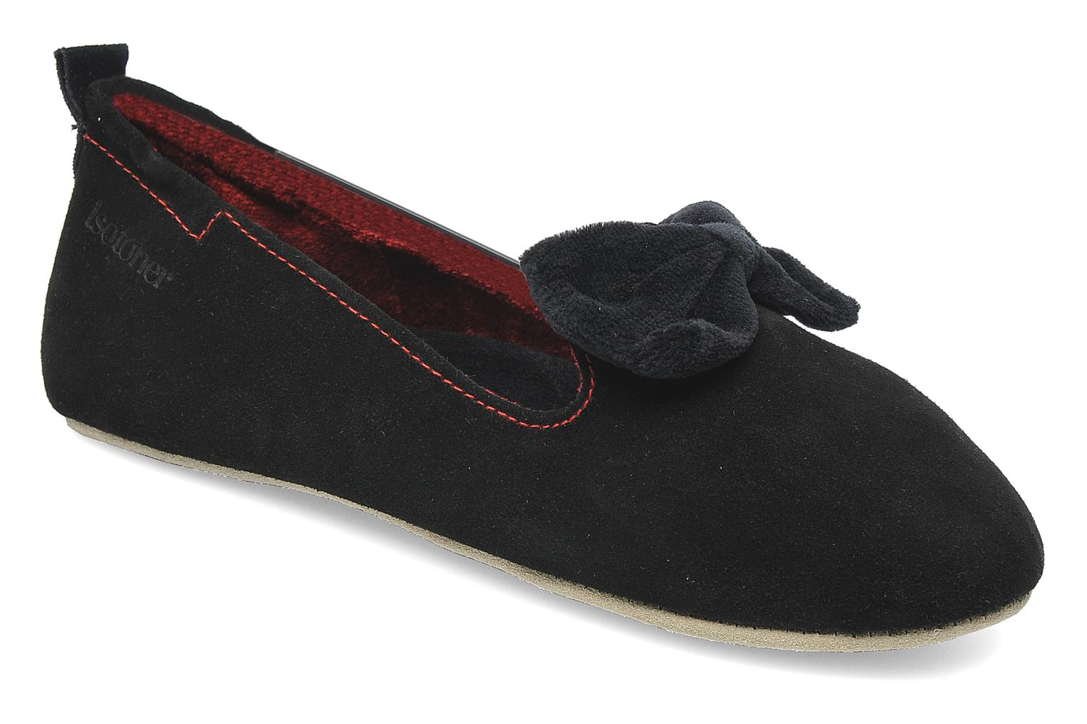Charentaise Cuir Velours Grand Nœud Noir