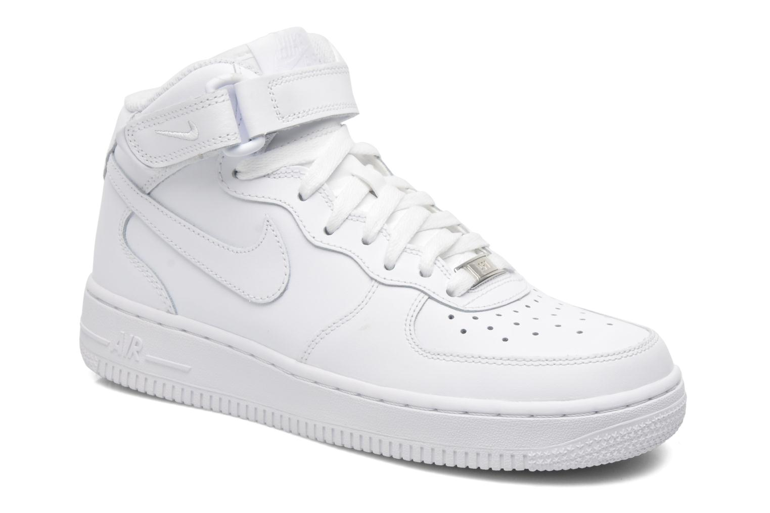 Baskets Nike Air Force 1 Mid (Gs) Blanc vue détail/paire