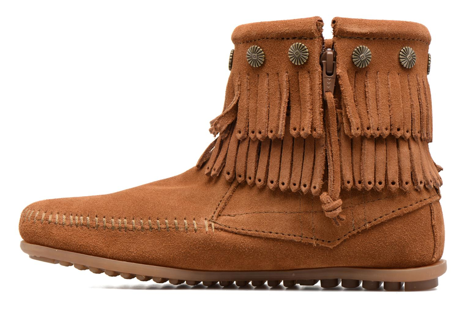 Ankle boots Minnetonka Double Fringe side zip boot Brown front view