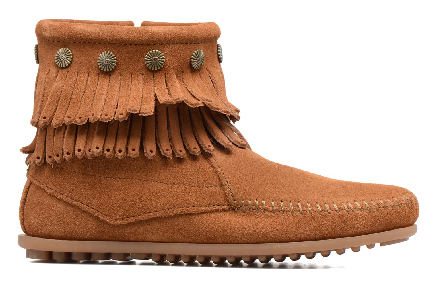 Ankle boots Minnetonka Double Fringe side zip boot Brown back view