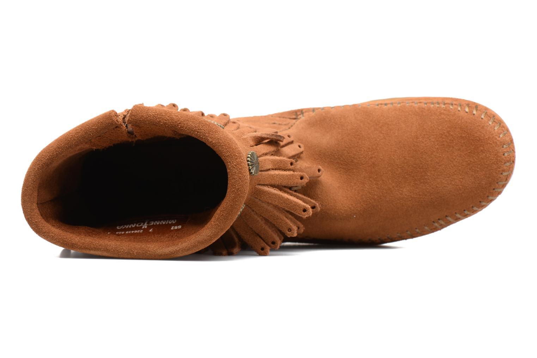 Stiefeletten & Boots Minnetonka Double Fringe side zip boot braun ansicht von links