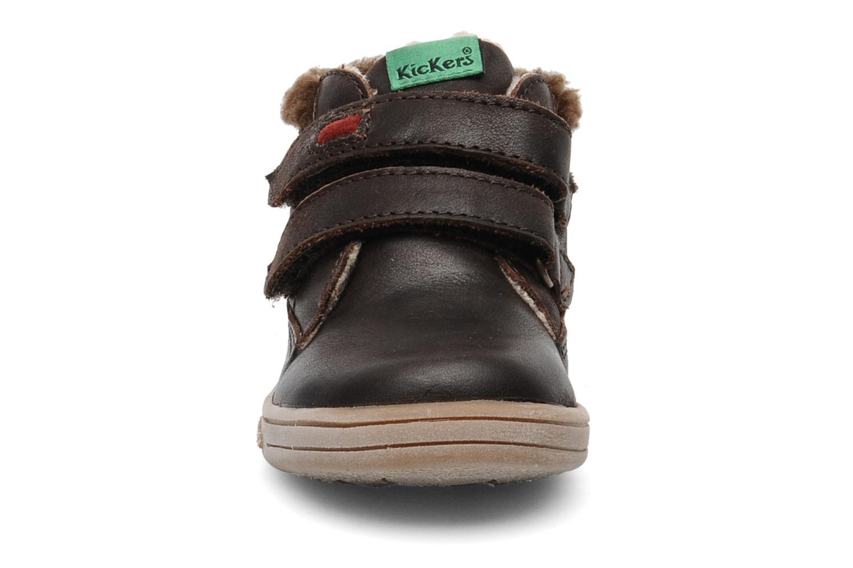 Chaussures à scratch Kickers TALKER Marron vue portées chaussures