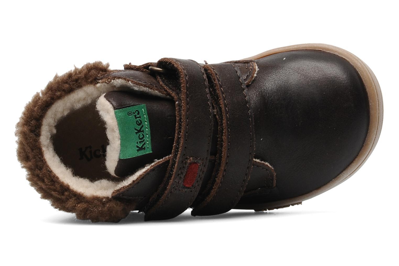 Chaussures à scratch Kickers TALKER Marron vue gauche