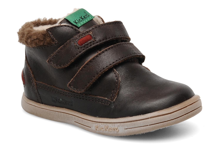 Sko med velcro Kickers TALKER Brun detaljeret billede af skoene