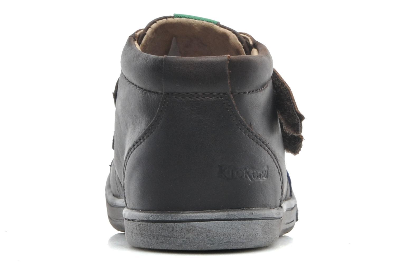 Zapatos con velcro Kickers Taxi Marrón vista lateral derecha